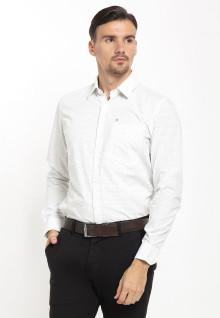 Slim Fit - Kemeja Formal - Polkadot - Single Pocket - Putih