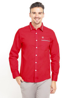 Slim Fit - Kemeja Casual - Stripe Collar and Pocket - Merah