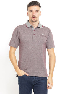 Regular Fit - Polo Shirt - Gambar Bertekstur - Contrast Collar - Merah