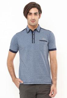 Slim Fit - Polo Shirt - Aksen Ring Warna Hitam - Abu