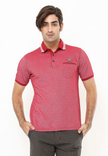 Regular Fit - Polo Shirt - Aksen Ring - Kontras Warna - Merah
