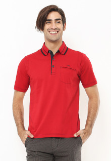 Regular Fit - Polo Shirt - Kerah Hitam Aksen Ring - Merah