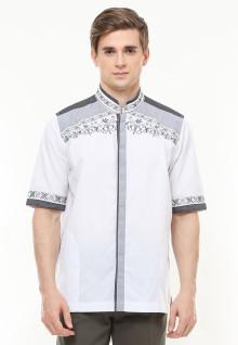 Baju Koko - Motif Bordir Abu - Dua Kantong - Putih - Regular Fit