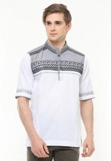 Baju Koko Motif Bordir Placket - Putih - Regular Fit