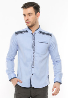 Slim Fit - Baju Koko - Motif Shoulder - Biru