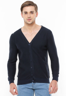 Body Fit - Sweater Casual - Kerah Vneck - Model Kancing - Hitam