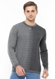 Body Fit - Sweater Casual - Two Tone Color - Abu