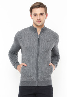Body Fit - Sweater Casual - Motif Bertekstur - Full Zipper - Abu