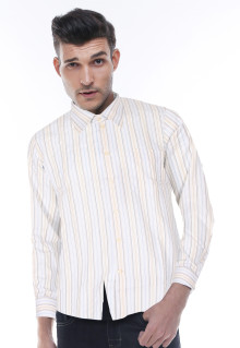 Regular Fit - Kemeja Formal - Putih - Salur - Lengan Panjang