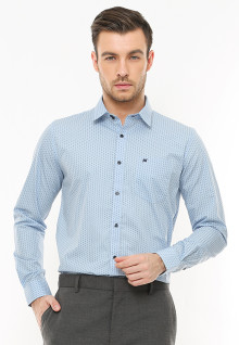 Slim Fit - Kemeja Formal - Motif Polkadot - Biru