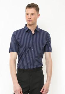 Slim Fit - Kemeja Formal - Motif Garis Vertikal - Biru