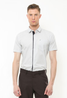 Slim Fit - Kemeja Formal - Corak Kotak Kotak - Putih