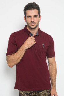 Regular Fit - Kaos Casual - Motif Polos - Maroon
