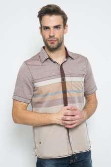 Regular Fit - Kemeja Casual - Kombinasi Warna - Coklat Muda