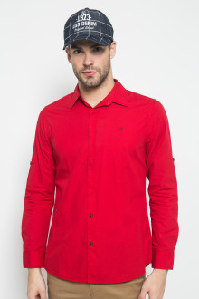 Slim Fit - Kemeja Fashion - Motif Polos - Merah
