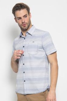 Slim Fit - Kemeja Fashion - Motif Stripe - Biru