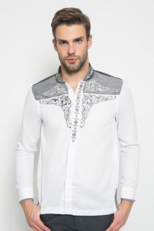 Slim Fit - Baju Koko - Motif Bordir - Putih