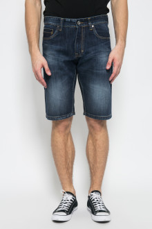 Slim Fit - Celana Jeans Bermuda - Aksen Washed - Dark Blue