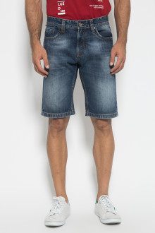 Slim Fit - Celana Jeans Bermuda - Washed - Biru