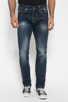 Slim Fit - Celana Jeans Panjang - Aksen Washed - Dark Blue