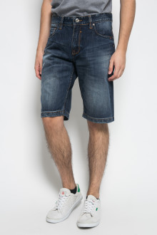 Slim Fit - Jeans Bermuda - Washed - Dark Blue