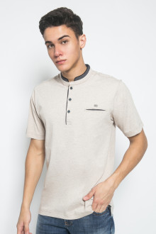 Regular Fit - Kaos Casual - Motif Polos - Cream