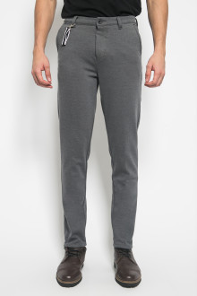 Jogger Pants Slim Leg Double Pockets - Light Grey