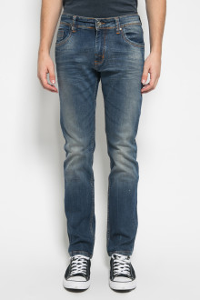 Slim Fit - Celana Jeans - Aksen Washed - Double Pocket - Dark Blue
