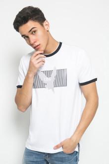 Slim Fit - Kaos Fashion - Gambar Sablon Bird - Putih