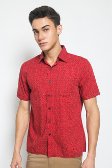 Regular Fit - Kemeja Casual - Full Motif - Merah