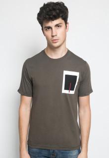 Slim Fit - Kaos Casual - Motif Polos Kotak - Coklat
