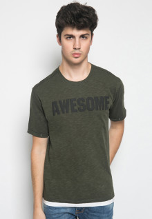 Slim Fit - Kaos Casual - Puff Print - Awesome - Hijau Army