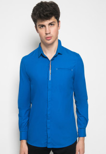 Slim Fit - Kemeja Casual - Sablon Stripe - Biru
