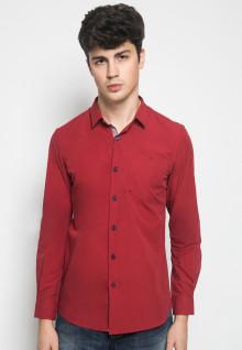 Slim Fit - Kemeja Casual - Full Motif Titik - Merah