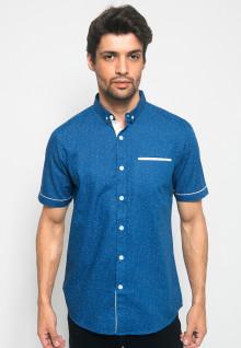 Kemeja Casual - Fashion Pria titik putih - Biru