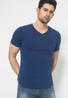 The One - V Neck Kantong - Biru Tua