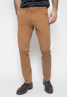 Celana Panjang Katun - Warna Coklat - Double Back Pocket