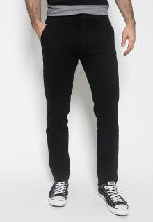 Celana Panjang Katun - Warna Hitam - Double Back Pocket - Chinos