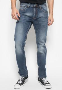 Jeans Premium - Biru Tua - Aksen Full Washed