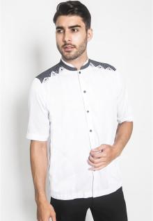 LGS - Regular Fit - Baju Koko - Lengan Pendek - Motif Bordir Hitam - Putih