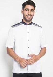 LGS - Baju Koko - Kemeja Koko - Koko Bordir - Motif Kotak - Putih - Slim Fit