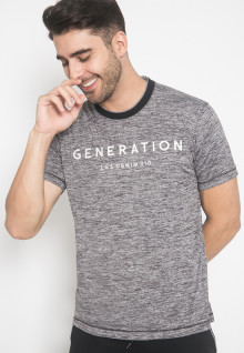 Slim Fit - Kaos Casual - LGS - Warna Abu - Motif Tulisan Generation