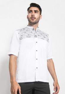 LGS - Baju Koko - Kemeja Koko - Koko Bordir - Motif Titik - Putih - Regular Fit
