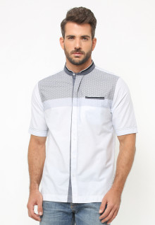 LGS - Baju Koko - Lengan Pendek - Motif illusion - Putih