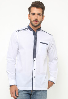LGS - Baju Koko - Lengan Panjang - Bordir Abu - Aksen Garis - Putih