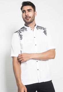 LGS - Baju Koko - Kemeja Koko - Koko Bordir - Motif Titik - Putih - Slim Fit