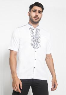 LGS - Slim Fit - Baju Koko - Lengan Pendek - Bordir Motif - Putih