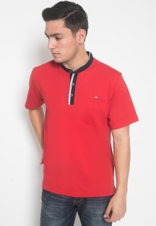 Regular Fit - Kaos Casual - LGS - Warna Merah - Model Kancing