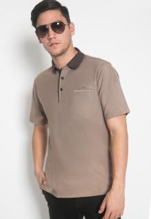 Regular Fit - Kaos Polo - LGS - Warna Coklat - Motif Polos