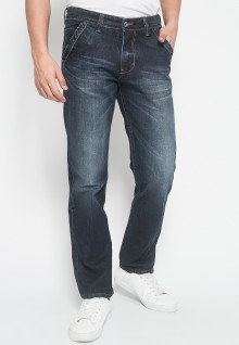 Slim Fit - Jeans Premium - Dark Blue - Aksen Full Washed